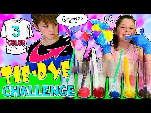 ¡3 Color TIE-DYE Challenge! 😜RETO Camisetas PERSONALIZADAS con TINTE CASERO * DIY Tie Dye T-shirts