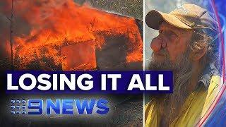 Hillville man watches home burn down in NSW bushfires | Nine News Australia