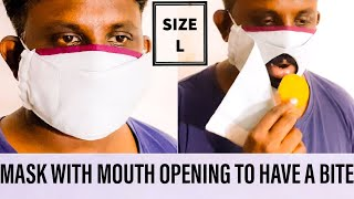 FACE MASK WITH MOUTH OPENING FOR QUICK BITE SIP WHILE WEARING A MASK VELCRO FACE MASK