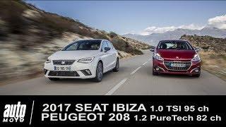 Comparatif 2017 SEAT IBIZA 1.0 TSI 95 ch Xcellence vs PEUGEOT 208 1.2 PureTech Allure