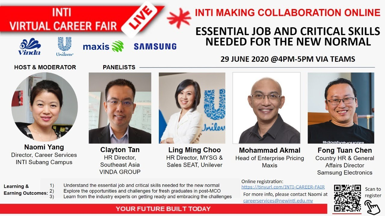 INTI CAREER FAIR WEBINAR 3 - ESSENTIAL JOB & CRITICAL SKILLS NEEDED FOR THE NEW NORMAL