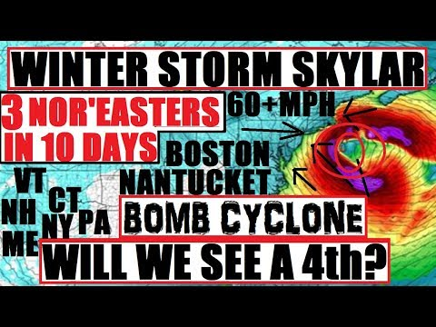 """BOMB CYCLONE! 3rd Nor'easter WINTER STORM SKYLAR """"BOMBOGENESIS"""" 18 INCHES MA NY VT NH ME"""