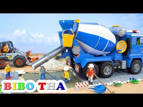 Biboเล่นรถก่อสร้างถนน รถโม่ปูน