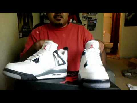 9a11303d8c4002 air jordan cement 4 comparison video replica vs real (the replicas are for  sale)