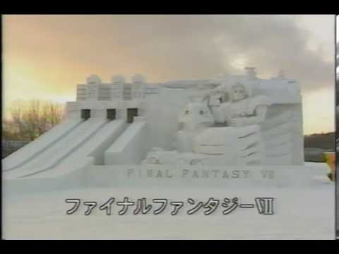 Massive Final Fantasy VII snow sculpture at the 1997 Sapporo Snow Festival