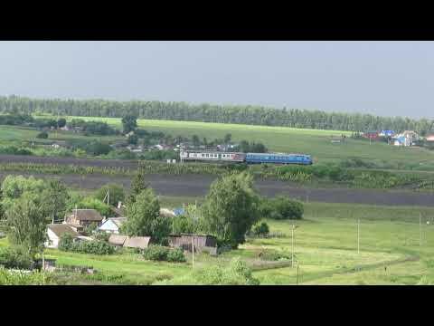 АЧ2 с пригородным поездом Орёл — Верховье, ст. Залегощь