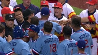 TEX@HOU: Odor, Conger Exchange Words As Benches Clear
