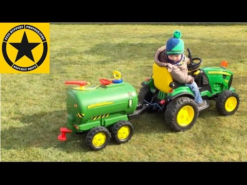 John Deere Ground Force with Water Trailer (Peg Perego) operated by Luke(2) TRACTOR for KIDS