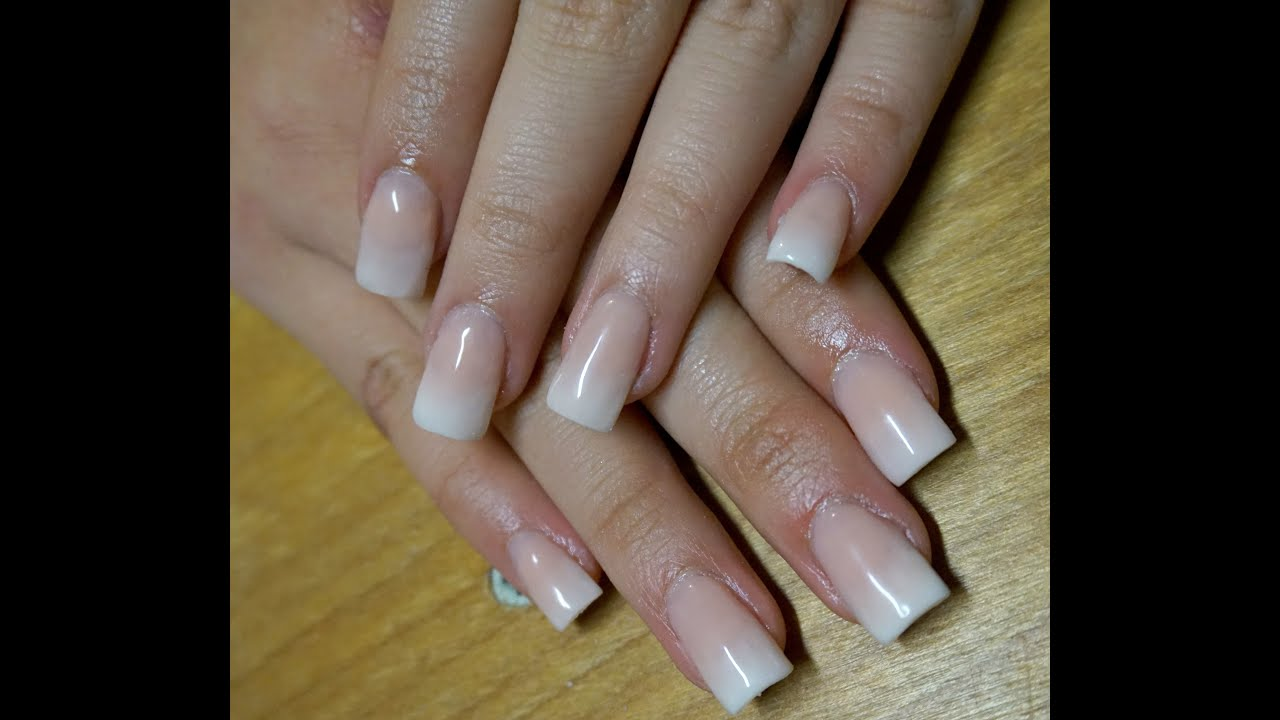 Soft Ombré French Tips | Baby Boomer Acrylic Nails at Home - YouTube