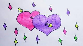 Фото Рисуем Сердечки на День св. Валентина. Простые и Легкие Рисунки. Красивые рисунки с Детьми.