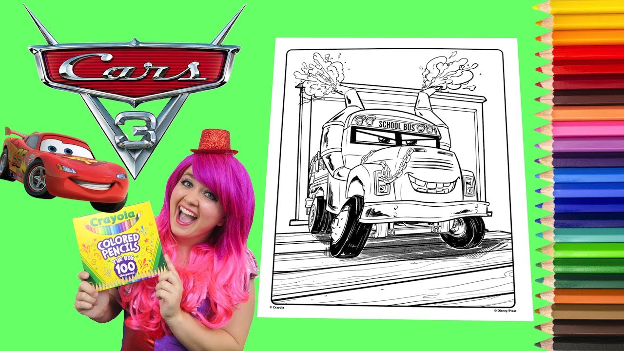 Coloring Cars 3 Miss Fritter Crayola Coloring Book Page Colored