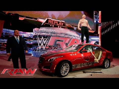Brock Lesnar destroys J&J Securitys prized Cadillac: Raw, July 6, 2015