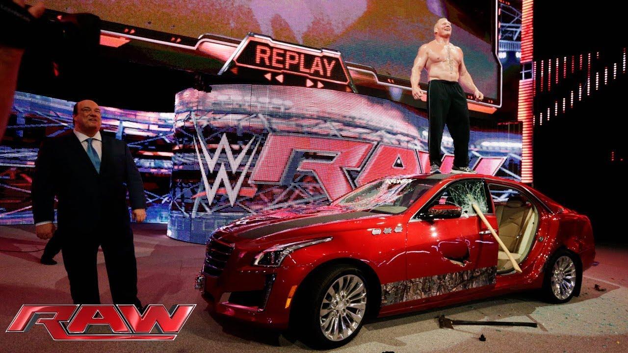 Brock Lesnar Destroys J J Security S Prized Cadillac Raw July 6