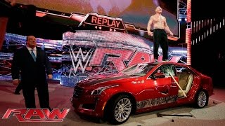 Brock Lesnar destroys J&J Security's prized Cadillac: Raw, July 6, 2015(The Beast Incarnate sends an expensive message to Seth Rollins. More ACTION on WWE NETWORK : http://bit.ly/MobQRl More ACTION on WWE NETWORK ..., 2015-07-07T03:19:32.000Z)