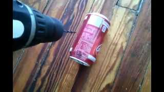 how to crush a can of dr. pepper with slats of wood