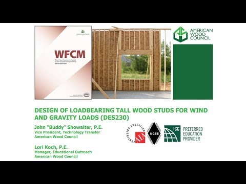 DES230 - Design of Loadbearing Tall Wood Studs for Wind and Gravity Loads