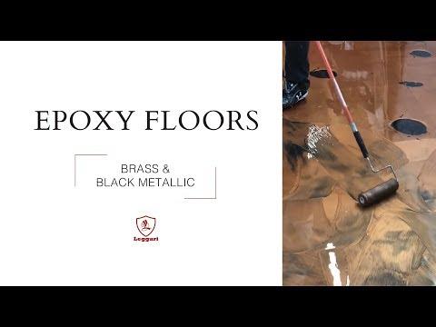 Brass and Black Metallic Epoxy Floor Coating: Free Instructional Video