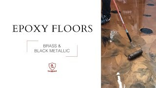 Brass and Black Metallic Epoxy Floor Coating: Free Instructional Video