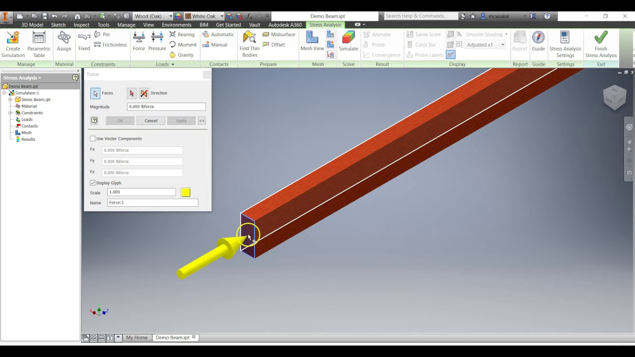 Inventor- FEA Deflection and Stress Analysis