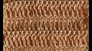 Узор Столбики с накидом из передней и задней нити петли основания - Crochet pattern