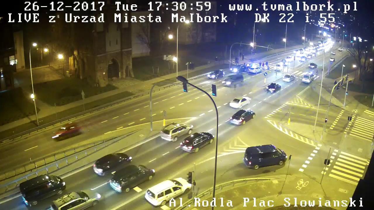 Potrącenie na al. Rodła w Malborku. Kamera IP5 rejestrator – 26.12.2017