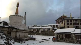 Mount Everest as a backdrop to Rongbuk Monastery