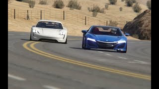 Battle Porsche Mission R Concept Hybrid vs Honda NSX '15 at Black Cat Country