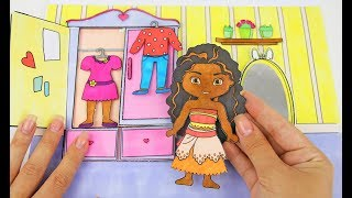 PAPER WARDROBE FOR MOANA DOLL MAKING DRAWING DRESSES FOR GIRLS HOW TO MAKE