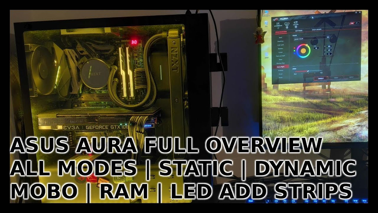 Asus Aura full overview | All modes | Audio Sync | Mobo + RAM + RGB strips