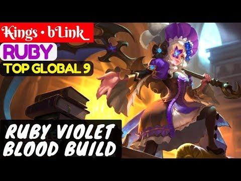 Ruby Violet Blood Build [Top Global 9 Ruby] | K̶ings • bLink_ Ruby Gameplay #1 Mobile Legends