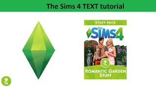 The Sims 4 Text Tutorial: Romantic Garden Stuff pack