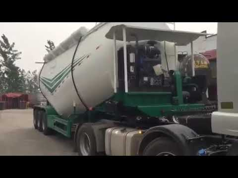 V shaped transport bulk cement powder tanker trailer(Diesel engine, air compressor optional)