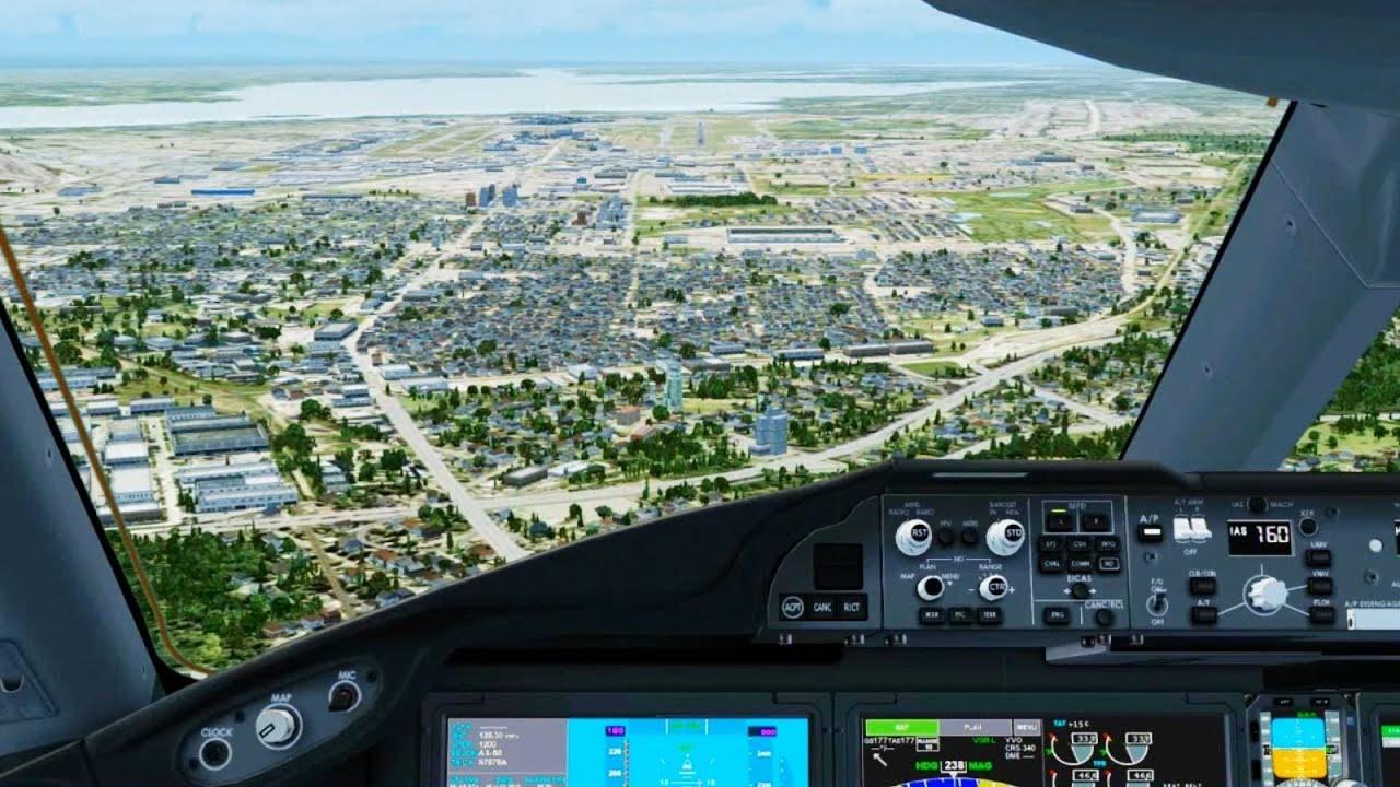 boeing 787 landing montreal   cockpit     hd