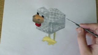 How to Draw/Paint Chicken - Minecraft