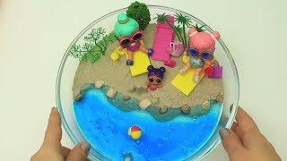 LOL Bebeklerime Slime ve Kinetik Kumdan Sürpriz Plaj Yaptım Kinetic Sand Slime Beach Bidünya Oyuncak