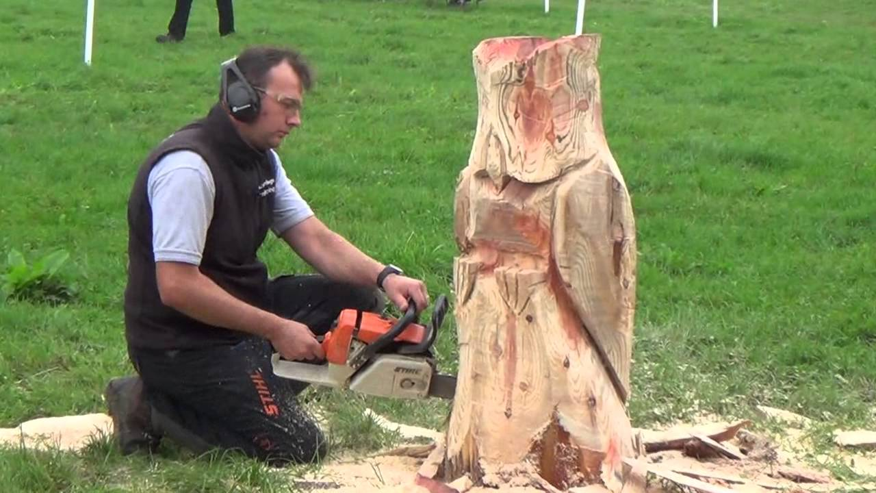 How to carve an owl using a chainsaw youtube