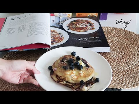 Homebody Making Blueberry Cream Cheese Pancakes On A Sick Weekend | Vlog #15