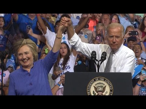 Joe Biden campaigns with Hillary Clinton