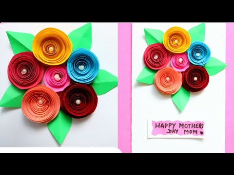 DIY Bouquet Card for Mother's day|Making Mothers day greeting card with paper flowers|Paper rose
