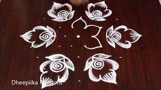 Beautifull flower rangoli design with 9x5 dots l small daily kolam designs l latest rangoli designs