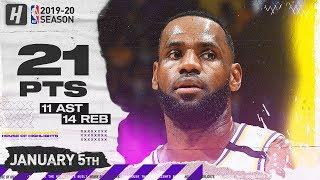 LeBron James 21 Pts 11 Ast 14 Reb Full Highlights | Pistons vs Lakers | January 5, 2020