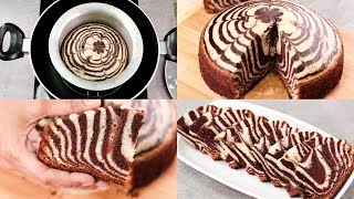 ZEBRA CAKE RECIPE IN REGULAR SAUCE PAN l CHOCOLATE & VANILLA CAKE l EGGLESS & WITHOUT OVEN