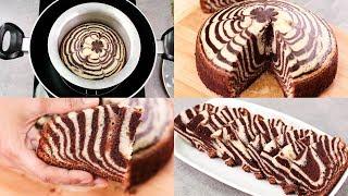 ZEBRA CAKE RECIPE IN REGULAR SAUCE PAN l CHOCOLATE &amp VANILLA CAKE l EGGLESS &amp WITHOUT OVEN