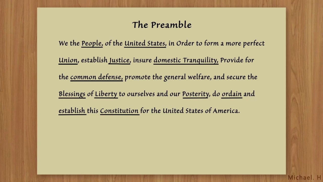 opinion of preamble Re-read the preamble of the constitution and look over your answers to the understanding the us constitution worksheet support your opinion.