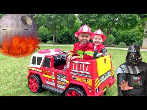 Little Heroes 6 - Firemen With Their Fire Engine Teaching Darth Vader Fire Safety
