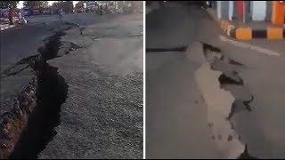 À Lombok, cette fissure sur la route donne une idée de la violence des séismes