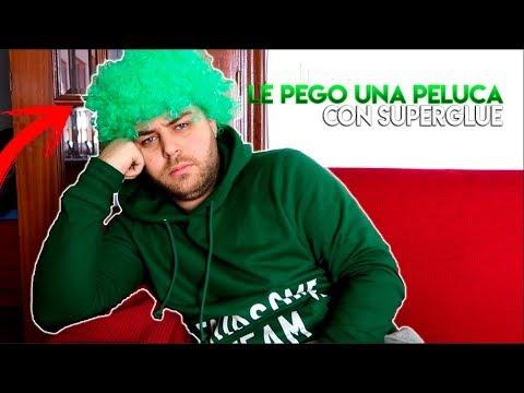 LE PEGO UNA PELUCA EN EL PELO CON SUPERGLUE!!! BROMA PESADA