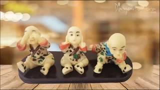 Divya Mantra Three Monkey Principles Baby Lama Showpiece Set