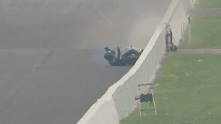 Joe DeSantis goes down on his Pro Stock Motorcycle in Indy
