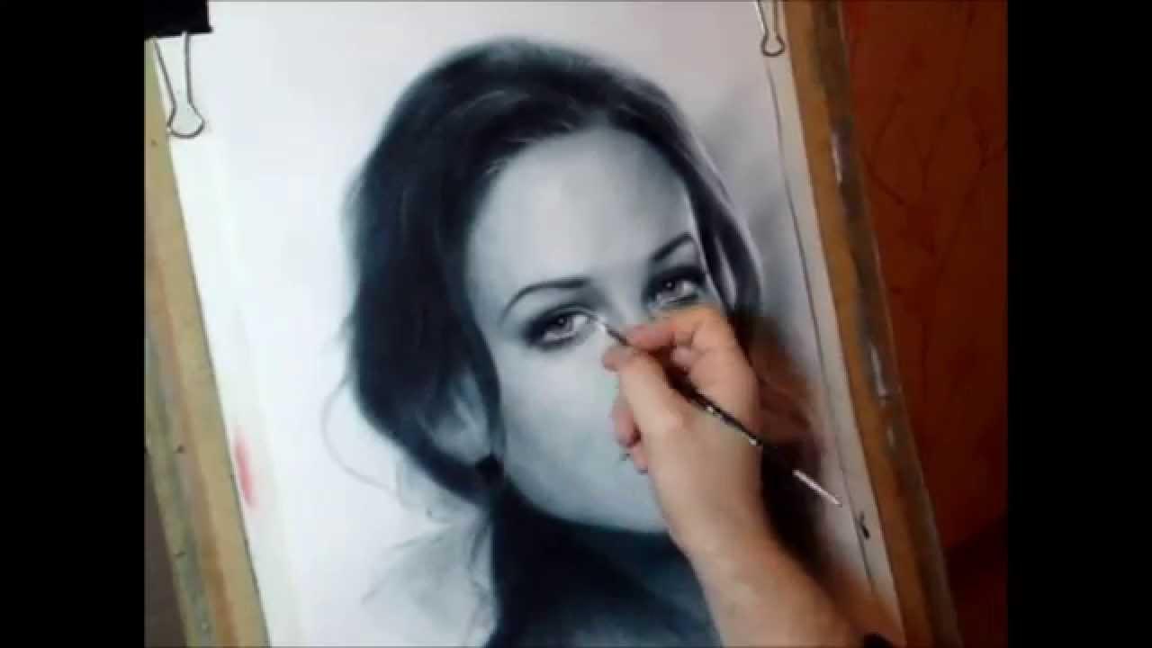 Сухая кисть - рисование портрета маслом на бумаге - YouTube